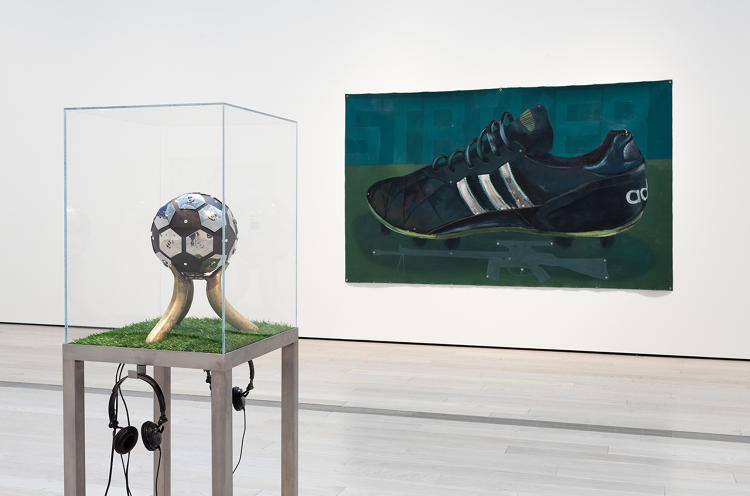 <p>Mixed media<br /> The ball-and-bananas sculpture references a 1996 racist reaction to black players in Milan, where fans hurled banana peels onto the field. <br /> Satch Hoyt</p>