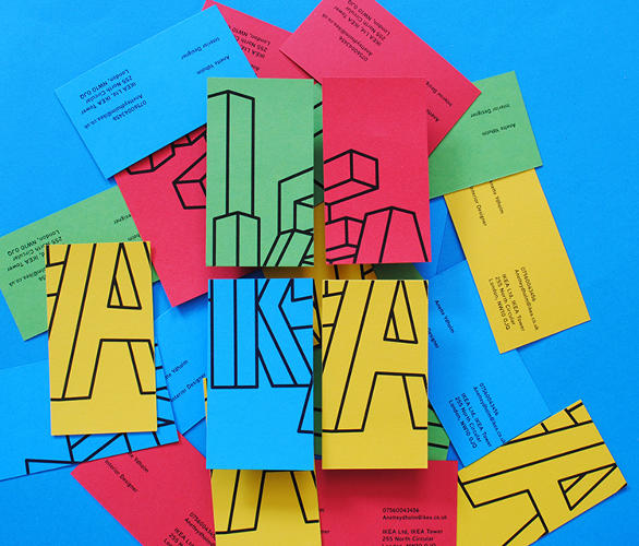 <p>Ling's version of the logo is a 3-D outline of the Ikea letters, stacked unevenly. The lines evoke the sketches of chair legs and tabletops found in Ikea's instruction manuals, and they appear to be mid-motion, like a freeze-frame of a Schoolhouse Rock animation.</p>