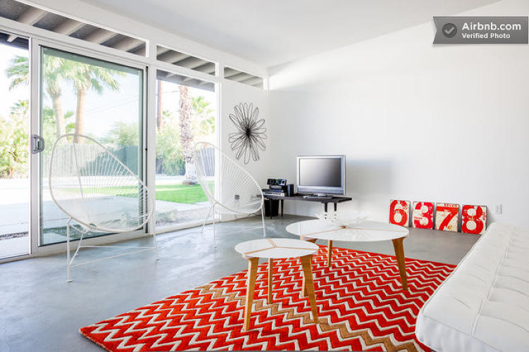 <p>This <a href=&quot;https://www.airbnb.com/rooms/479048&quot; target=&quot;_blank&quot;>Palm Springs Wexler house</a> boasts a swimming pool and cool concrete floors to make you forget you're staying in the middle of the desert.</p>