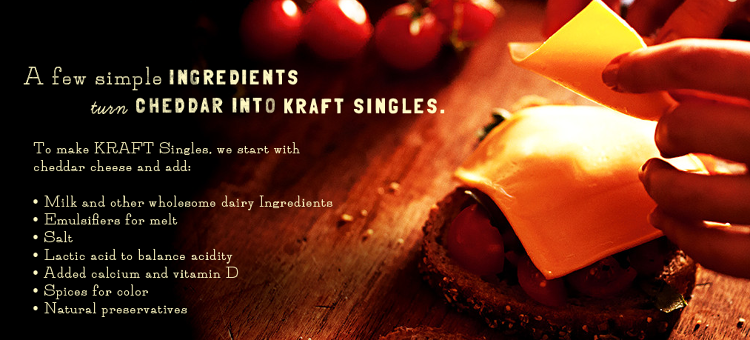 <p>Then again, Kraft is careful not to identify the Singles as actual cheese. Or food, for that matter.</p>