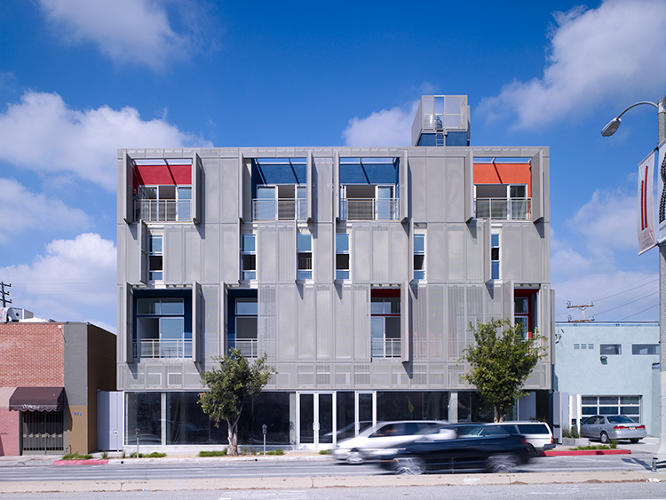 <p>This Los Angeles condo building features an adjustable screen facade system that occupants can open and close at will. The building is 40% more energy efficient than the U.S.'s most demanding energy code (California's Title 24) requires.</p>