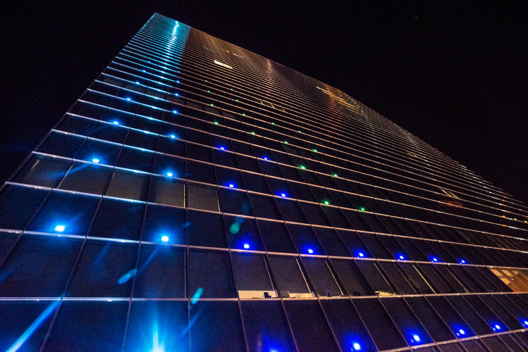 <p>Dr Frank Lee and his team converted each LED light on the building into a pixel in the world's largest game of Tetris.</p>