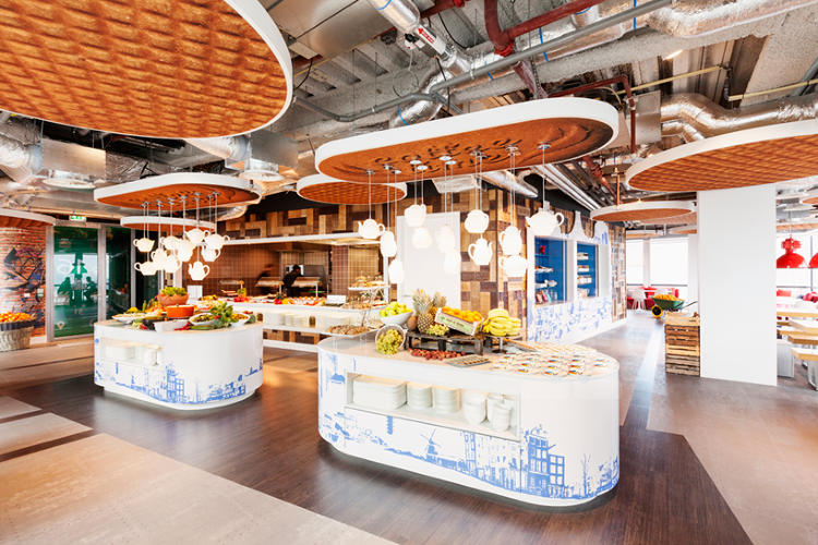 <p>The ceiling panels are designed to look like stroopwafels--that quintessentially Dutch gooey waffle-cookie. Maybe Googlers draw inspiration from sugar cravings?</p>