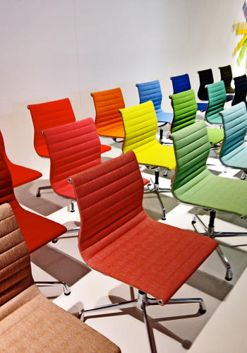 <p>A rainbow of Eames chairs, seen outside Vitra.</p>