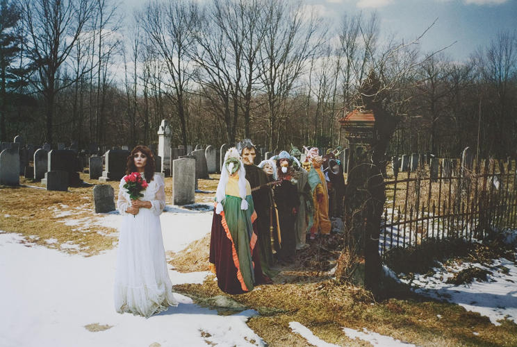 "<p>&quot;This collage is based on the legend of the White Lady who haunted the Union Cemetery in Easton, Connecticut, near where I grew up,&quot; Marnie Weber writes in an artist's statement. ""She would stand in the road and cars would hit her and then hear a thump. Upon investigating there would be nothing there.&quot;</p>"