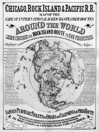 <p>A 1870 poster imagines Chicago as the center of the world.</p>