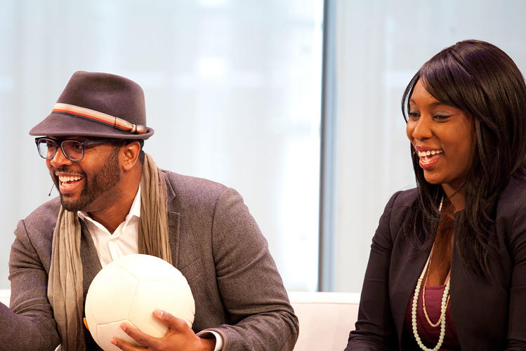 <p>Baratunde Thurston goofed around with Uncharted Play's energy-harnessing soccer ball in a demo with CEO and Founder Jessica Matthews.</p>