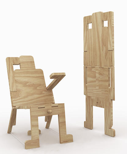 <p>And last, who can resist a wooden robot chair, that snaps back into a flat sheet of wood when sitting time is over? Designed by newbie Guglielmo Quaranta.</p>