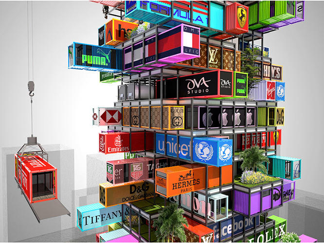 <p>These shipping container rooms could be sponsored by major brands.</p>