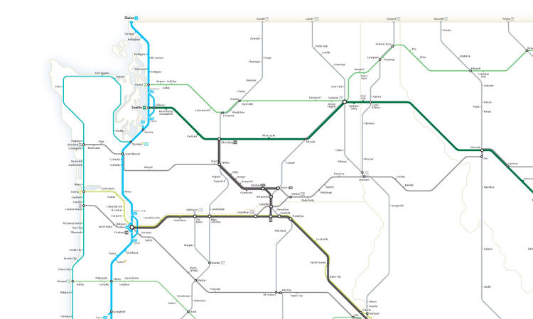 "<p>It's inspired by subway map designs, but ""I'd stop short of calling this a ""subway map,"" Booth writes on his website. ""I'd rather call it a 'simplified road map' instead.""</p>"