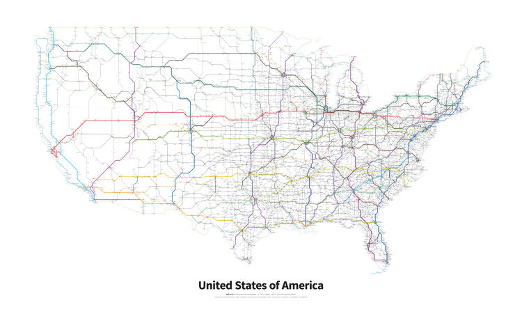 <p>Sydney-born, Portland-based graphic designer Cameron Booth spent two years researching and designing this map of every single current and signed Interstate Highway and U.S. Highway in the contiguous 48 states.</p>