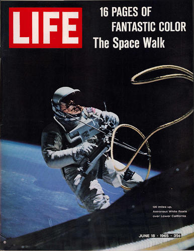 <p>Cover of <em>Life</em> magazine from June 8, 1965, with a photo by crew member James A. McDivitt of astronaut Ed White in space, tethered to Gemini 4 spaceship.</p>