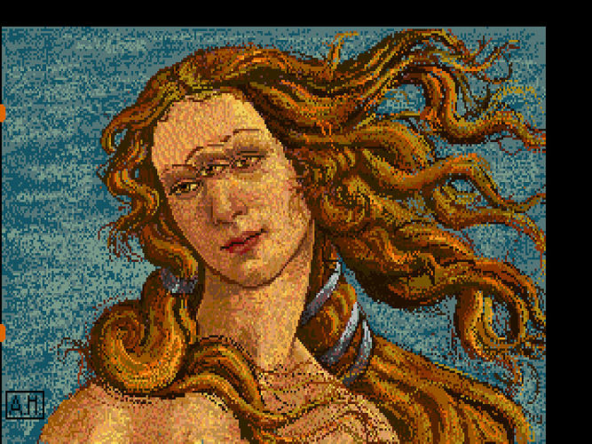 <p>Andy Warhol's surrealist Amiga take on Botticelli's <em>The Birth Of Venus</em>.</p>