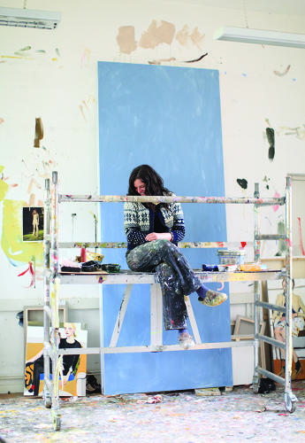 <p>Because of the scale of her paintings, Joffe works from mini-scaffolding set up in her studio near Angel, London. Her desk is caked in oil paint, a medium she describes as being very dirty.</p>