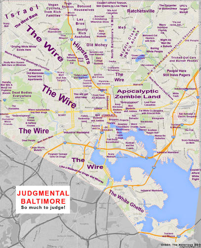 <p>Baltimore's stereotypes, naturally, are all about <em>The Wire</em>.</p>