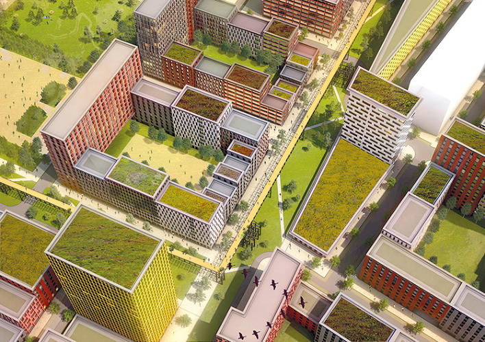 <p>The development will also include schools, shops, a local hospital, and green spaces. An old elevated track will be turned into a High Line-like park.</p>