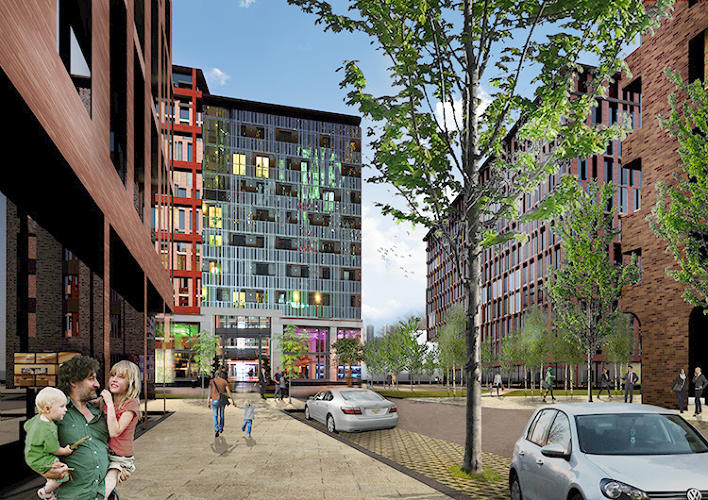 <p>New streets inside the neighborhood will link up with streets in the surrounding area, and Metro and bus stations are a five-minute walk away.</p>