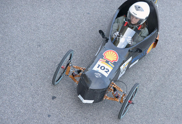 <p>The Archetype, Prototype, running on hydrogen, competing for team UCDenver from University of Colorado Denver, Colorado, makes its way around the track during Shell Eco-marathon Americas 2014, Saturday, April 26, 2014, at the George R. Brown Convention Center in Houston.</p>