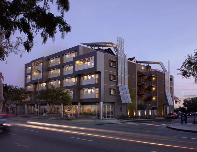 <p>Patrick Tighe Architecture designed the first entirely-affordable mixed-use development in West Hollywood, developed with the input of individuals with disabilities. It fits 42 units on a 13,000-square-foot site.</p>