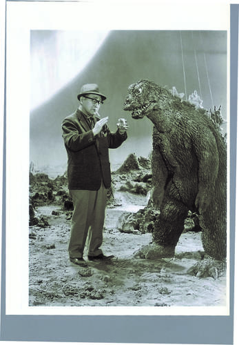 <p>Eiji Tsuburaya prepares a piano wire action scene for Godzilla in <em>The Great Monster War</em> from 1965.</p>