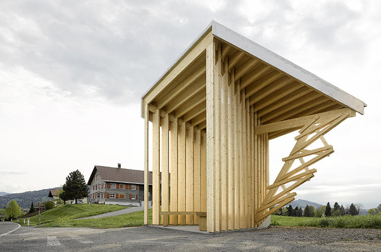 <p>Wang Shu and Lu Wenyu's Amateur Architecture Studio designed a bus stop inspired by a camera obscura that focuses views on the surrounding mountains.</p>