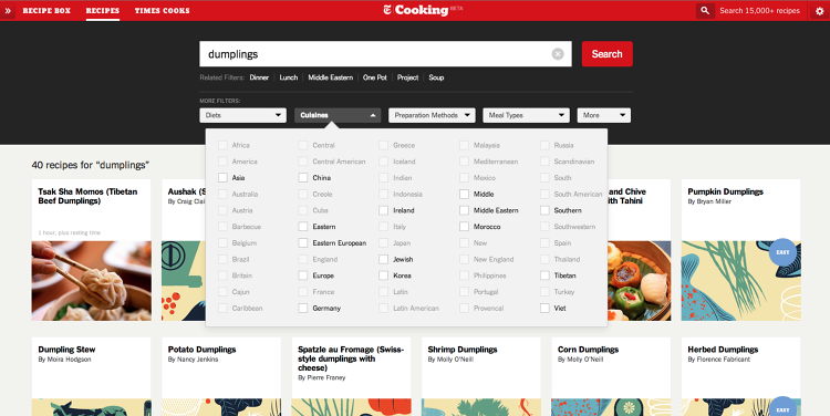 <p>You can search very quickly by tags, including type of cuisine or ingredients.</p>