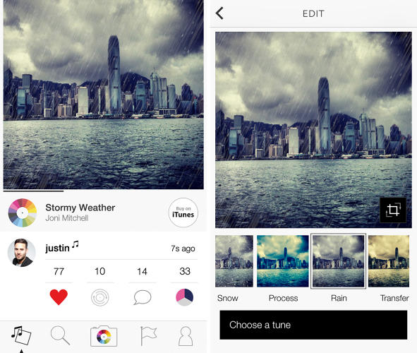 <p>Tunepics includes a few features that Instagram lacks, like the ability to post other users' photos and songs on your own profile page, and working hyperlinks.</p>
