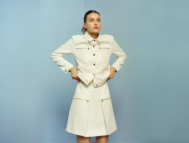 <p>Zippy Jacket, $575, and Zippy Skirt, $500</p>