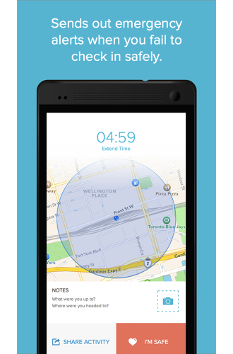 <p>When users feels worried about their safety, they set the app to check in on them in a specified time period--say in the 30 minutes it will take to walk home late at night or drive home in a storm.</p>