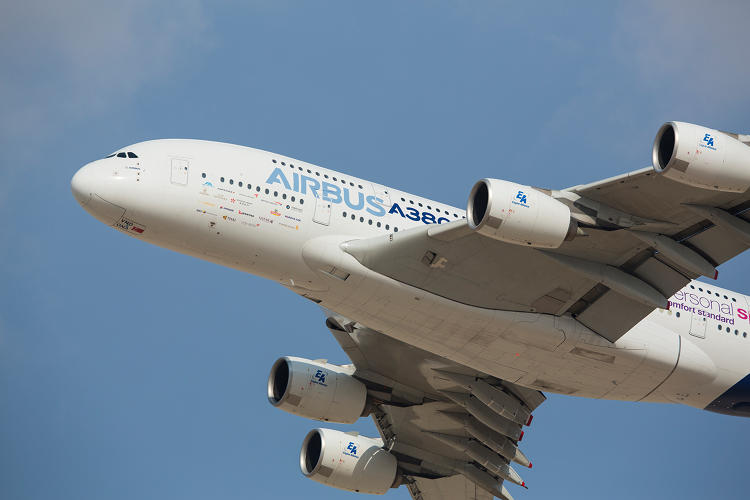 <p>Close up Airbus A380 with Engine Alliance engines.</p>