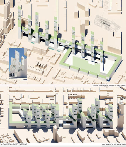 <p>Amoia Cody Architecture proposes a series of &quot;vertical lots&quot; that mimic the lot shape of Prospect Heights townhouses. Each floor of the towers features a terraced yard.</p>