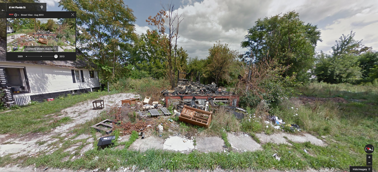 <p>One Detroiter decided to turn to Google Street View and Bing Maps to show how blocks keep evolving in the GooBing Detroit Tumblr, with side-by-side views of the same street in different years.</p>