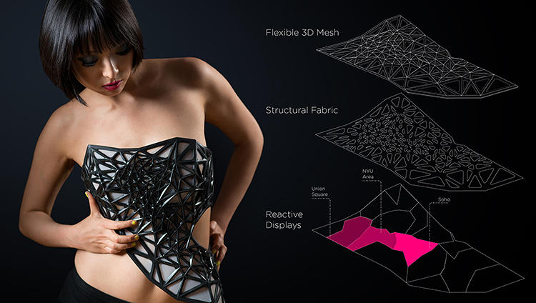 <p>It features a flexible, black mesh with a layer of material that's opaque when idle, but transparent when a current of electricity runs through it.</p>