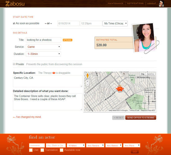 "<p>Through the Zabosu online marketplace, she contracts an ""Actor"" to be that surrogate.</p>"
