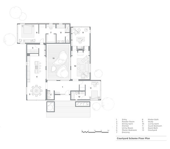 <p>His 2,400-square-foot house consists of four rectangular rooms arranged around a 500-square-foot interior courtyard. Rockwell was inspired by his childhood in Mexico, where &quot;outdoor space was part of the lifestyle.&quot;</p>