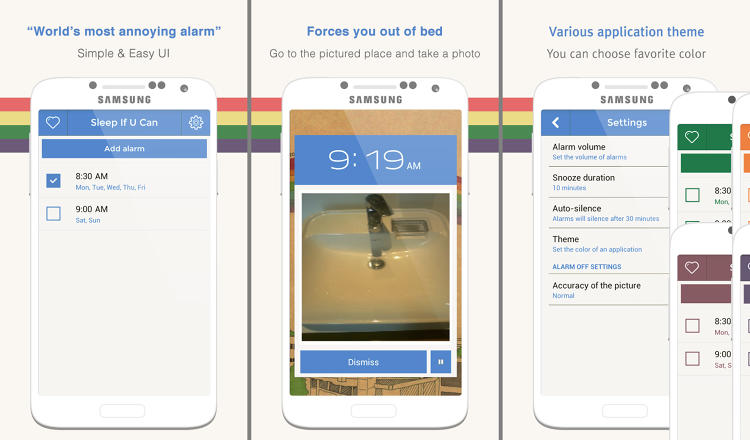 <p>Feeling sadistic? This app won't let you rest until you're up and proving it. Register a photo of something---say, your bathroom sink or the coffee maker--and Alarmy will go off until you take the same photo again in the morning. If you can hit snooze at that point, it's impressive.</p>