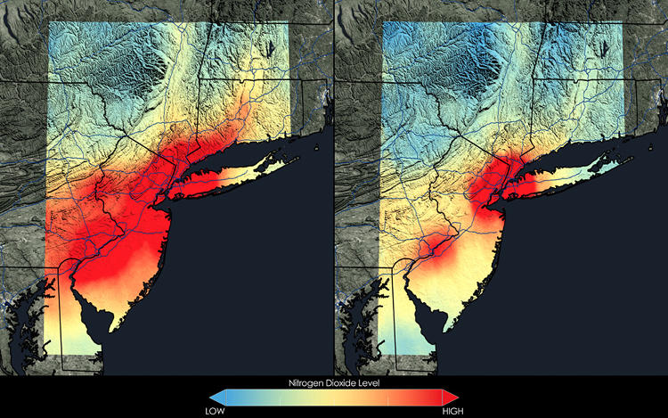<p>New York City has seen a 32 percent decrease in nitrogen dioxide between the 2005-2007 (left) and 2009-2011 (right) periods. The OMI gives earthbound scientists a space-based view of where and when air pollution occurs.</p>