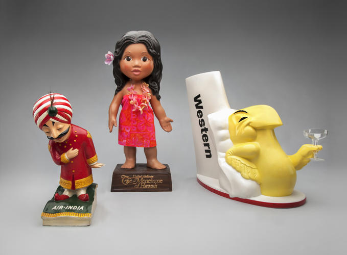 <p><strong>Air India Maharajah</strong> c. 1960,<br /> <strong>United Menehune Girl</strong> 1975,<br /> <strong>Wally Bird</strong> c. 1960</p>