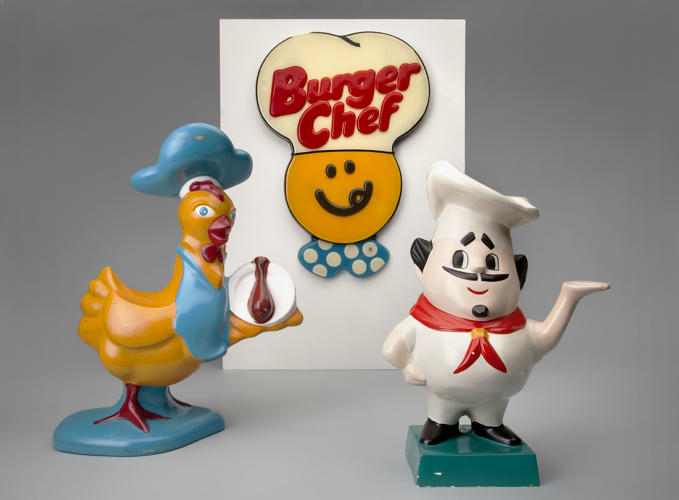 <p><strong>Chicken Delight</strong> 1960s,<br /> <strong>Burger Chef</strong>  c. 1977,<br /> <strong>Pioneer Pete</strong>  c. 1978</p>