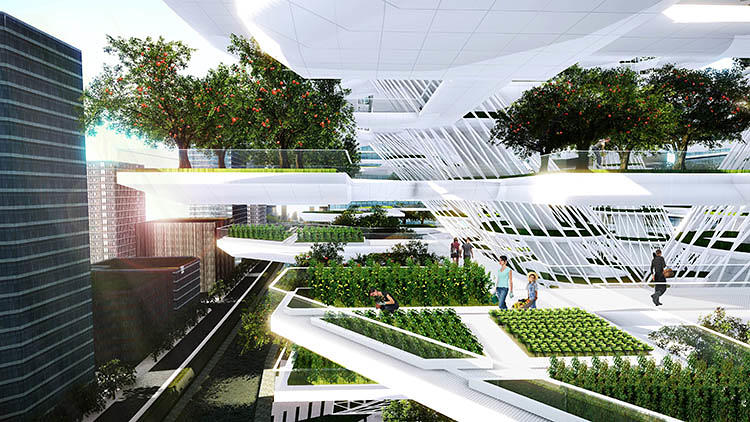 <p>Designed to mimic the shape of a giant tree, the Urban Skyfarm is covered in leaf-like decks that can provide 24 acres of space for growing fruit trees and plants like tomatoes.</p>