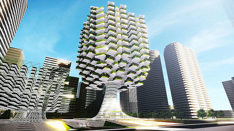 <p>Most existing vertical farms look like plant factories--all of the action happens on the inside.</p>