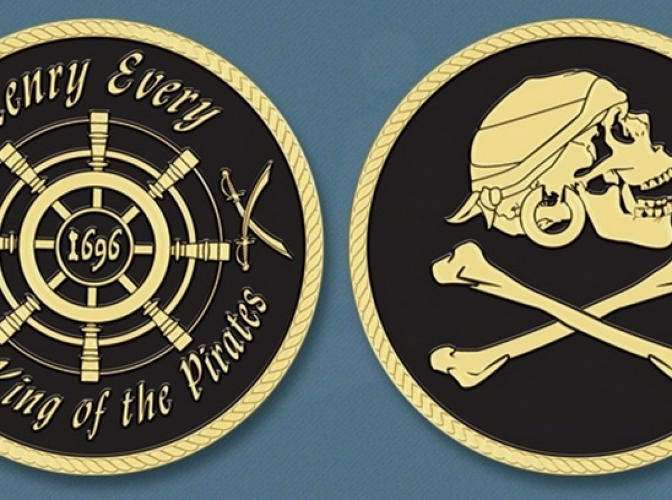 "<p>Status: <a href=&quot;https://www.kickstarter.com/projects/1653770499/pirate-coin-henry-every-the-king-of-pirates?ref=category&quot; target=&quot;_blank&quot;>Funded</a><br /> The King of the Pirates was a swashbuckling legend named Jack Sparr--er, <em><a href=&quot;http://en.wikipedia.org/wiki/Henry_Every&quot; target=&quot;_blank&quot;>Henry Every</a></em>. This is a heavy-brass coin with his name etched on it. Why? Because… well, what about ""king of the pirates"" did you not understand?</p>"
