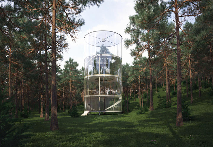 <p>Designed by Russia's A. Masow studio, this gorgeous glass building is a modern day tree house.</p>