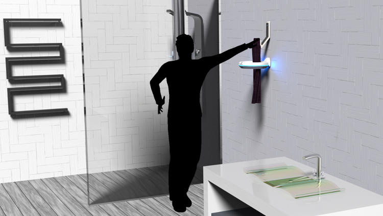 <p><a href=&quot;http://electroluxdesignlab.com/2014/submission/pure-towel/&quot; target=&quot;_blank&quot;>Pure Towel</a>, designed to dry and de-germ towels immediately after use, is one of the leading contenders for the People's Choice award. The ring-shaped device attaches to the bathroom wall and uses UV rays to destroy bacteria.</p>