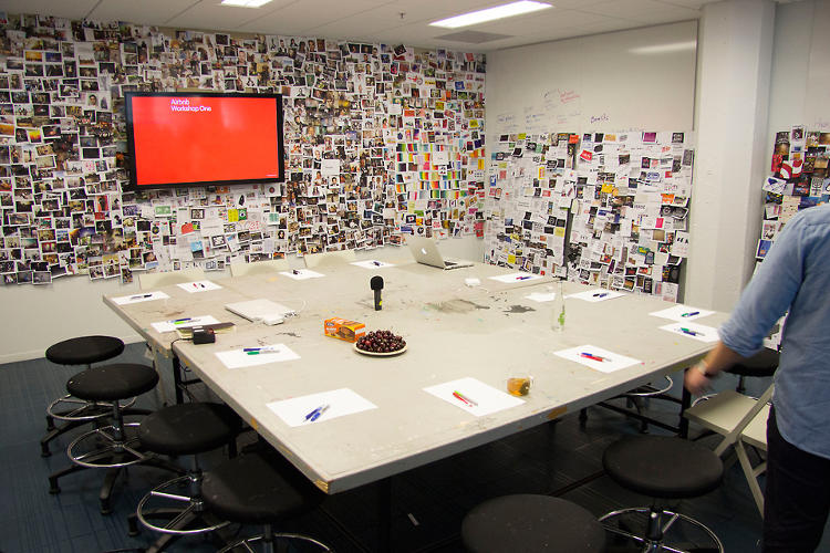 <p>During the desing process, Chesky says, Airbnb's design studio started to look like Russell Crowe's workshop in <em>A Beautiful Mind</em>. They were overwhelmed with an absurd number of mood boards and brand identity studies, which included &quot;the Red Cross, the Olympic rings, and probably the most important symbol of all, Batman's,&quot; Chesky says, only half-joking.</p>