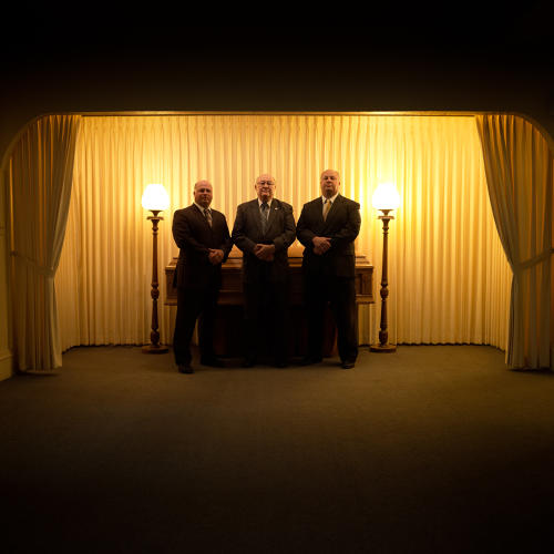 <p>Gorgen Funeral Home, Mineral Point, established in 1916 by Phillip and Mary Gorgen. Greg Gorgen (center) and sons Grant and Mike run the company started by Greg's grandparents. Mary Gorgen was one of the first licensed women funeral directors in Wisconsin.</p>