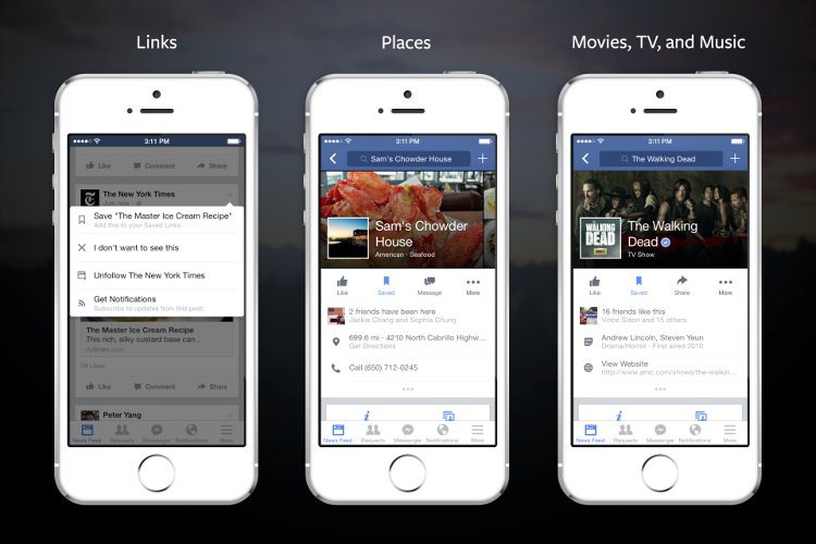 <p>Facebook is rolling out a tool that lets users save links, places, movies, TV, and music, which they can revisit at a later time.</p>