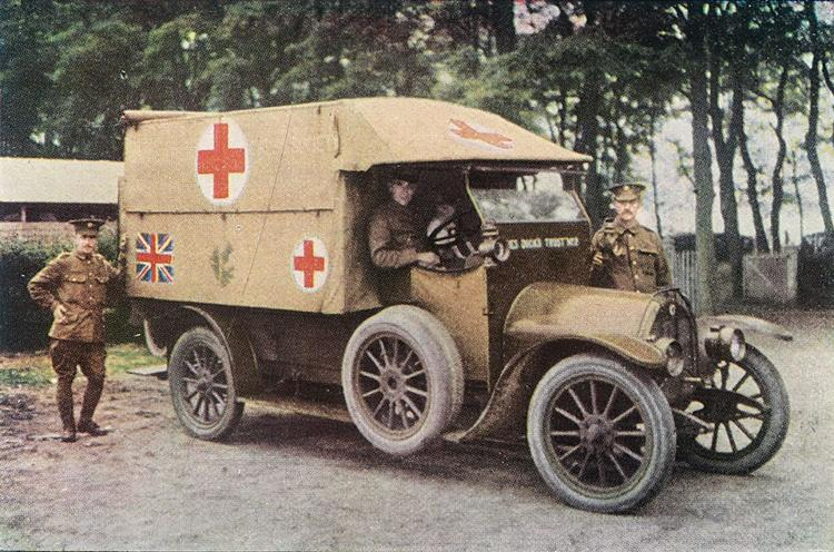 <p>British ambulance, 1914. Motorization made possible the large-scale and relatively quick transport of the wounded to the medical staging area for the first time.</p>
