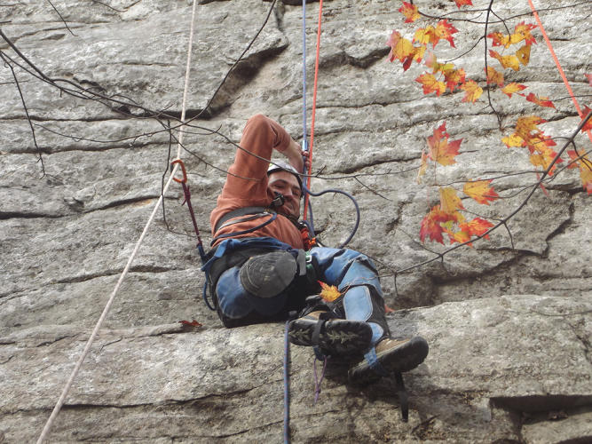 <p>Paraplegic climber Enock Glidden wears chaps to protect his legs from the sharp rock at the Shawangunk mountains in New York.</p>