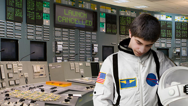 <p>&quot;I like this one because of its simplicity, the graphic itself wasn't a labor intensive photoshop, the subtleties of this are what really carry the graphic - the mildly disappointed look on the kids face, the &quot;Launch Cancelled&quot; sign behind him. This graphic is merely a scene that could exist in the real world, which I think sometimes is what makes it equally as hilarious as an intense photoshop project.&quot; -- Graphics Editor Heidi Unkefer</p>
